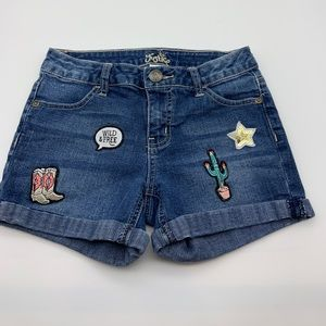 Justice girl short jeans patches blue 12 slim